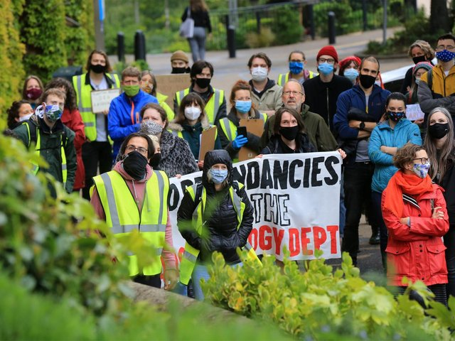 Demonstrators gather on the Sheffield campus today