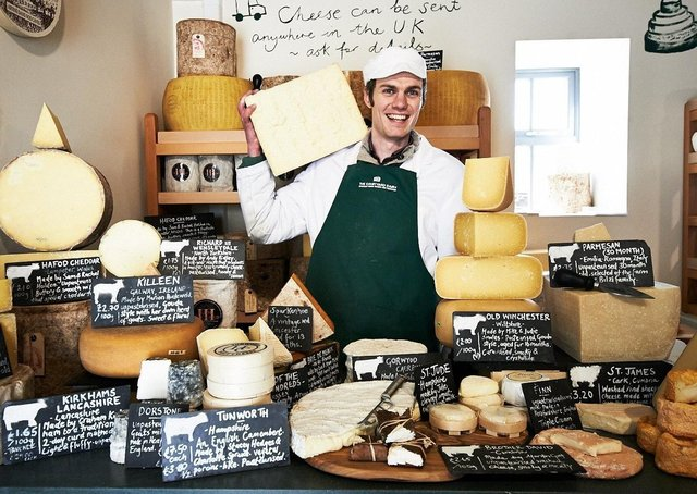 Andy Swinscoe at The Courtyard Dairy in Settle which has been named as one of the 50 best food shops in the world.