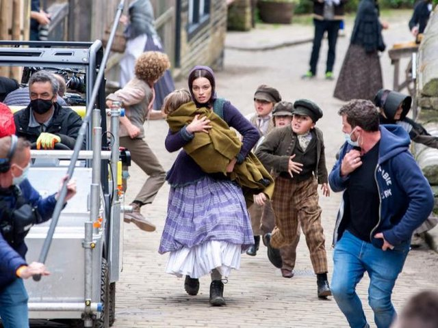 A crew shooting Emily in Haworth