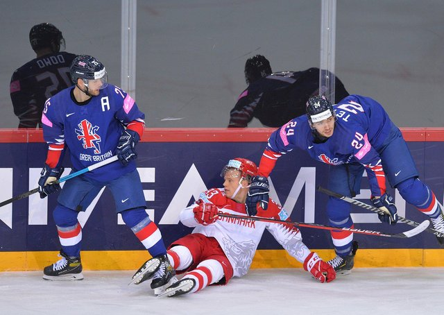 TAKE THAT: GB's Rob Dowd, left and Josh Tetlow, right, keep Denmark's Julian Jakobsen occupied. Picture: Dean Woolley.