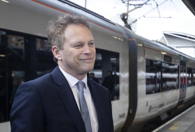 Transport Secretary Grant Shapps visits Leeds Station.