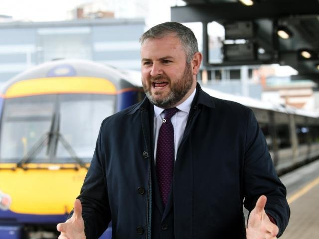 Andrew Stephenson visiting Leeds rail station earlier today.