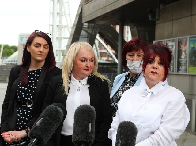 Jenny Hicks (second left) and Christine Burke (far right), relatives of victims of the Hilsborough disaster speak to the media outside the Lowry Theatre, Salford Quays, Greater Manchester