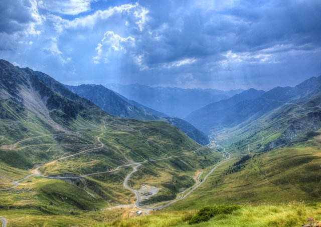 Roads in Central Pyrenees mountains close to Col du Tourmalet (2115m), a Tour de France route.