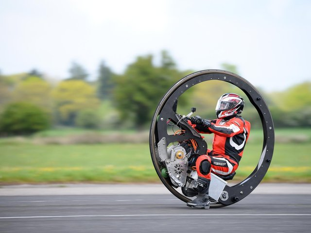 Videos show new speed world records being set for the fastest wheelie bin, wheelbarrow - and a bar stool. Pictures: SWNS