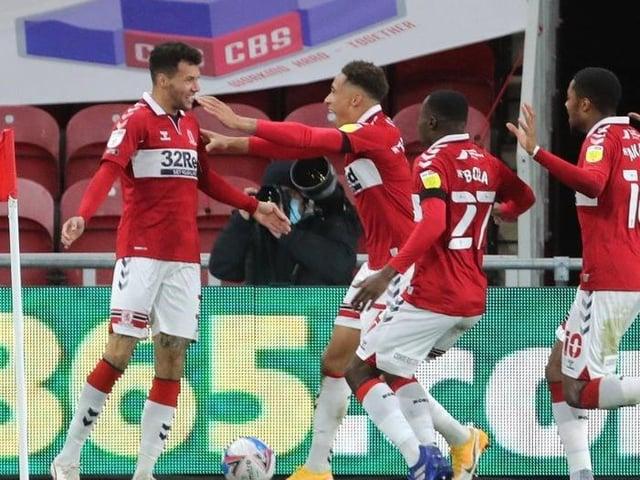 Middlesbrough's Marvin Johnson (left) celebrates scoring against Nottingham Forest at the Riverside Stadium in October. Picture: Richard Sellers/PA