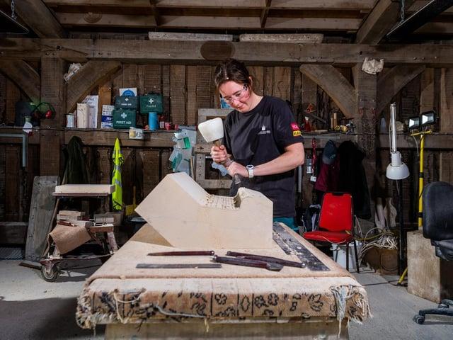 Emma Waitzmann, 21,an apprentice stonemasons at York Minster.
