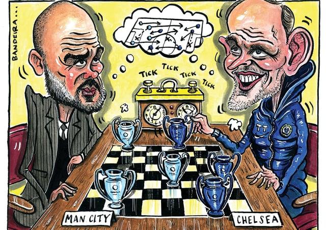 A tactical masterclass between grandmasters Guardiola and Tuchel (Cartoon: Graeme Bandeira)