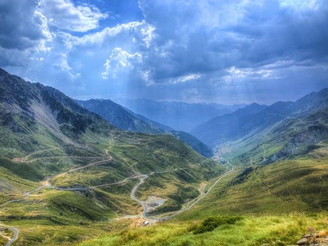 Roads in Central Pyrenees mountains close to Col du Tourmalet (2115m). Picture: Radu Razvan.