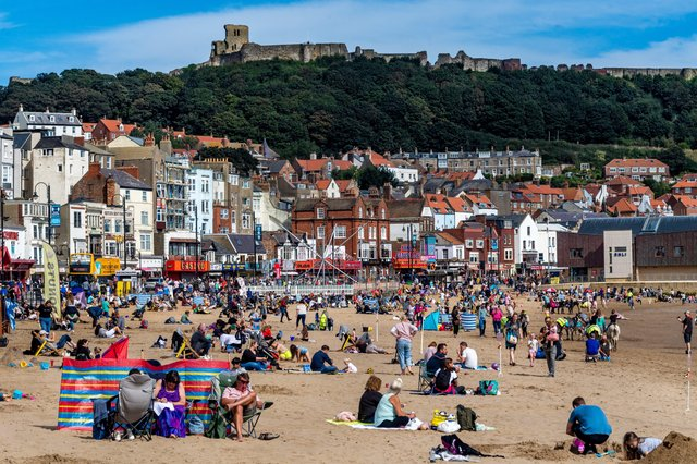 Visitors to Scarborough in August 2020. Picture: James Hardisty.