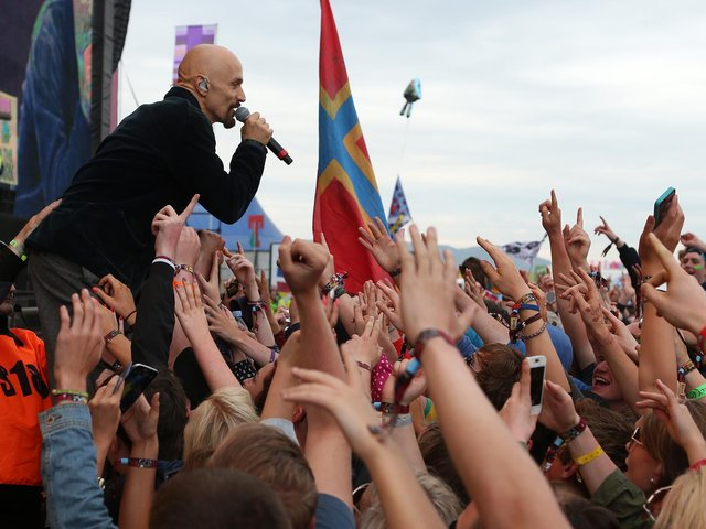Tim Booth of James performing at T in the Park in 2014. Picture: Andrew Milligan/PA