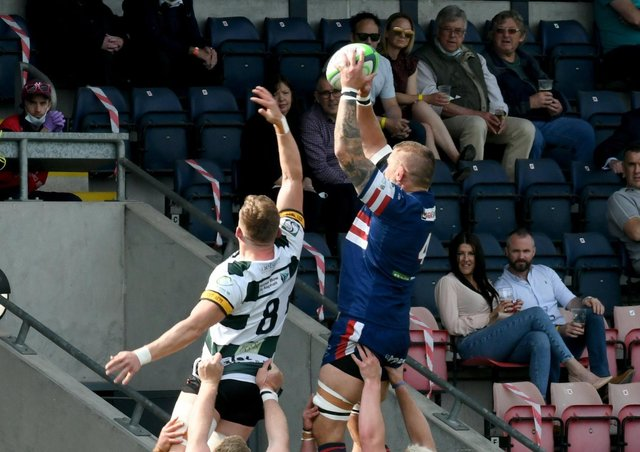In his final game, Matt Challinor of Doncaster Knight  claims a high ball from the lineout against Nottingham (Picture: Gary Longbottom)