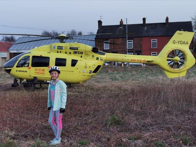 """Kind-hearted Julia Zbik felt too shy to approach paramedics to say """"thank you"""" after spotting them land in a field in Barnsley, so raised money for them instead"""