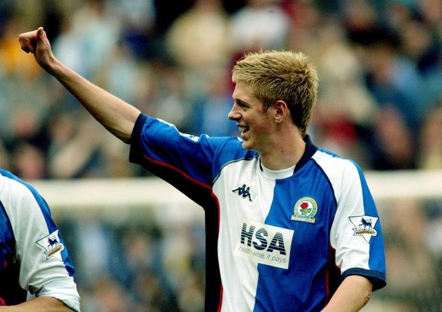 Jon Stead of Blackburn Rovers celebrates his late goal against Manchester Unitedin 2004 (Picture: PA)