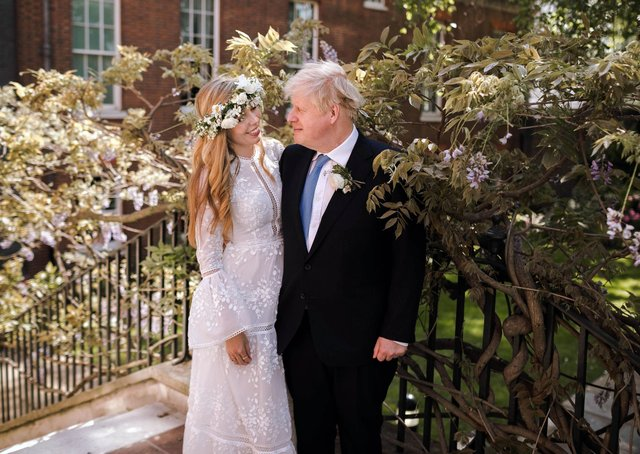 Boris Johnson in the Downing Street garden after he married his partner Carrie Symonds in Westminster Cathedral.