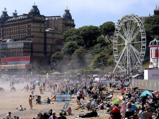 Revellers in Scarborough enjoying the sun on Sunday (May 30)
