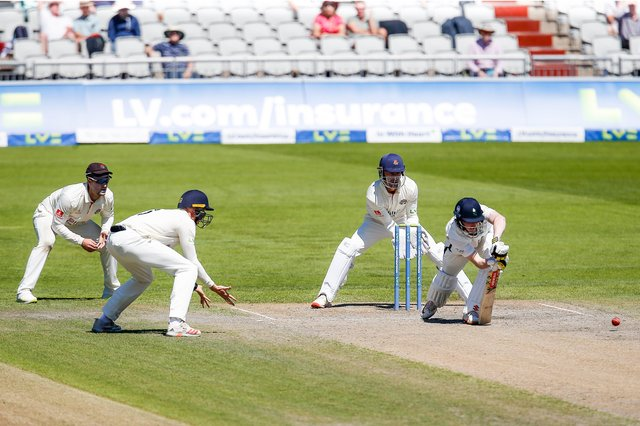 Digging in: Yorkshire batsman Harry Brook scored 52 and batted for 159 minutes as the White Rose desperately tried to bat out for a draw against Lancashire at Old Trafford. Picture: John Heald