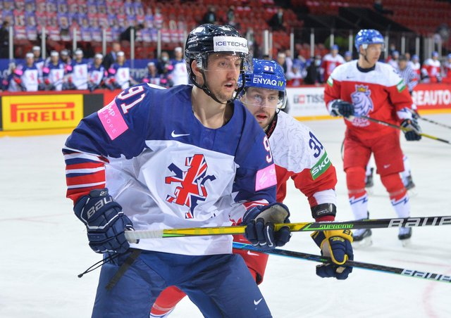 Ben Lake, pictured in action during the 6-1 defeat to the Czech Republic on Saturday in Riga. Picture: Dean Woolley.