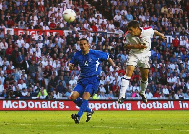Get in: Michael Owen scores his second goal at the Riverside. Pictures: Getty Images