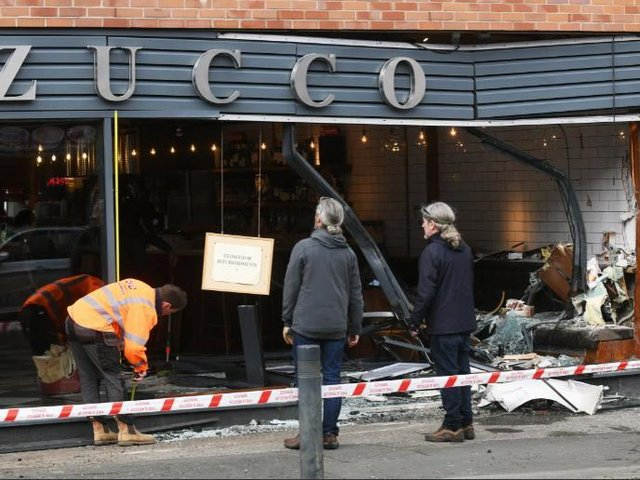The damage caused to Zucco Italian restaurant in Meanwood, Leeds, after a car crashed into it shortly before 3.30am on Tuesday, May 25