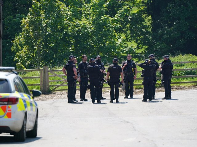 Armed police officers in Hubbard's Hills, Louth, Lincolnshire.