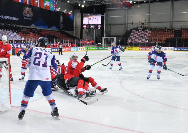 STRIKE TWO: Liam Kirk, far right, fires in his second goal against Switzerland. Picture: Dean Woolley.