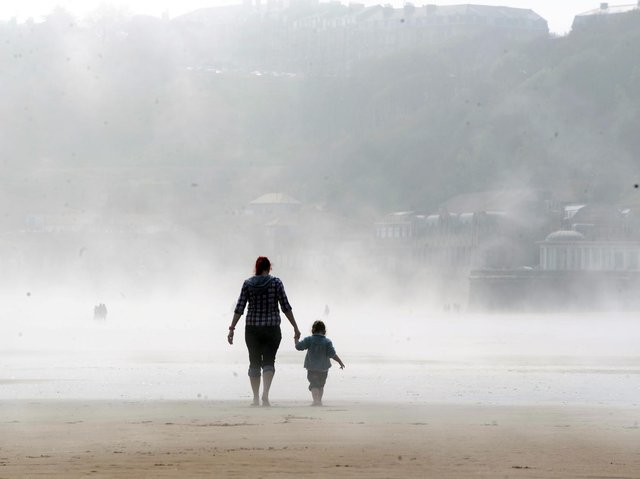 Sea fret rolling in on Scarborough's South Bay. Picture: JPI Media/ Gerard Binks