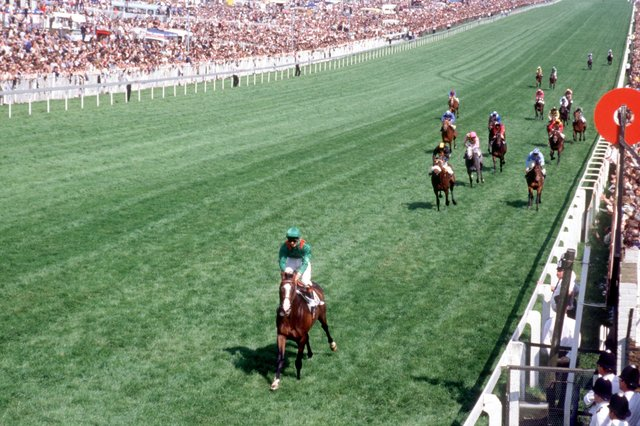 This was the imperious Shergar winning the 1981 Epsom Derby under teenage jockey Walter Swinburn.