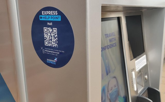 One of the Express Help Points unveiled by TransPennine Express