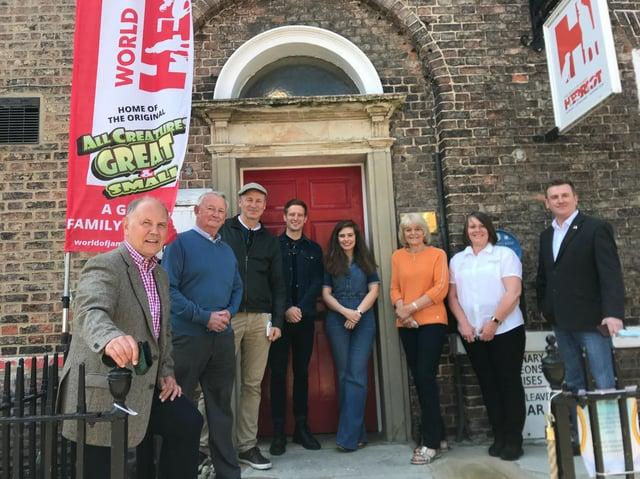 John Gallery, Ian Ashton, James Dean, Nicholas Ralph, Rachel Shenton, Rosie Page, Kate Pawlett, Neil Jones outside the World of James Herriot in Thirsk
