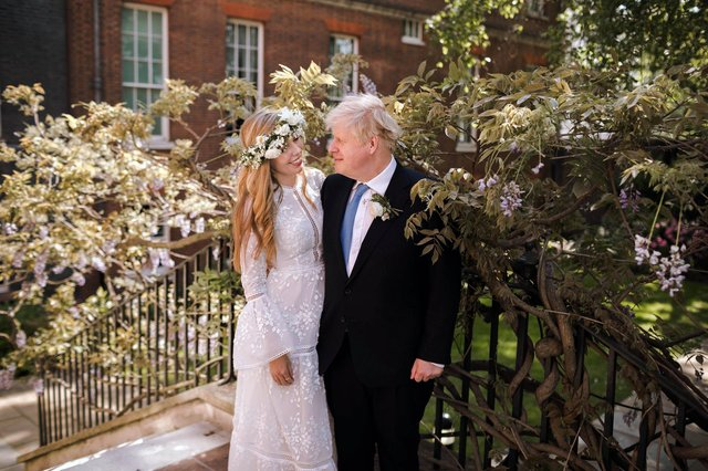 Boris johnson after his wedding to Carrie Symonds at Westminster Cathedral.