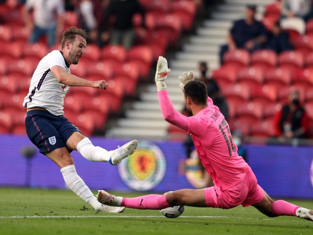 England captain Harry Kane is denied by Austrian keeper Daniel Bachmann in the first half of the Three Lions' friendly against Austria at Middlesbrough. Picture: PA.