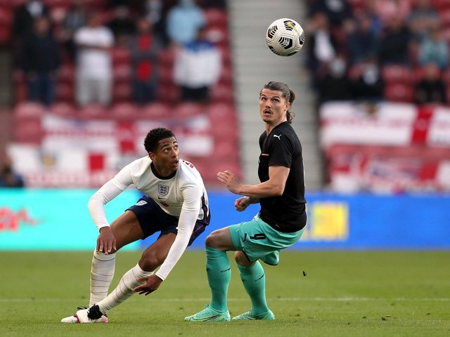 Jude Bellingham, pictured on his first senior England start in Wednesday night's friendly against Austria at the Riverside Stadium. Picture: PA.