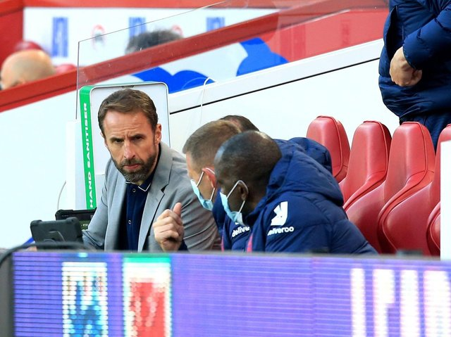England manager Gareth Southgate in conversation with his bench at the Riverside Stadium. Picture: PA