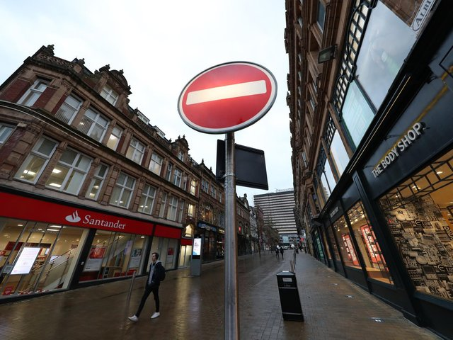 Library image of a near empty Albion Place in  Leeds during height of pandemic