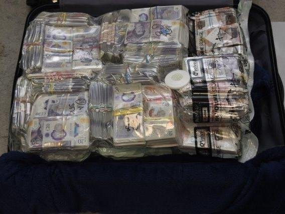 Cash seized by National Crime Agency officers.