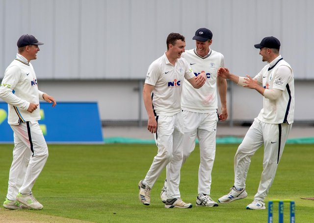 Yorkshire's Harry Brook celebrates taking the wicket of Sussex's Ali Orr's, caught by Duanne Olivier, at Headingley. Picture: Bruce Rollinson