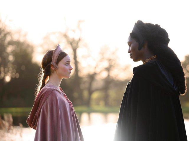 This scene, with Anne Boleyn (Jodie Turner-Smith) and Jane Seymour (Lola Petticrew) was filmed at Castle Howard. Credit Fable / The Falen Falcon