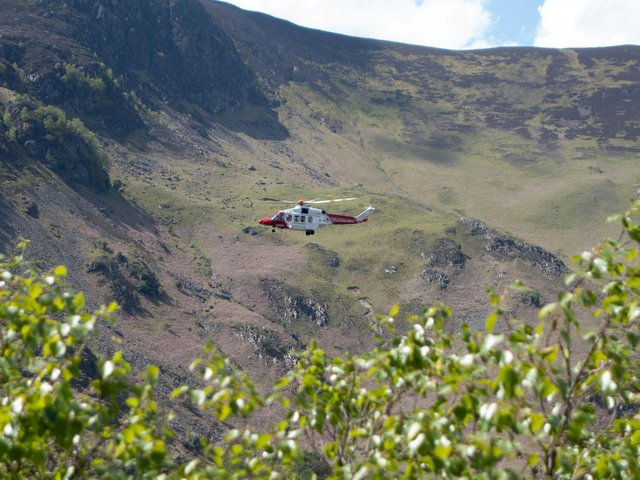 A helicopter was drafted in to help with the rescue. (Credit: SWNS)