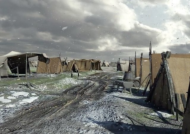 An artist's impression of the Viking camp at Torksey.