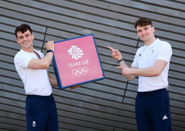 TOKYO BOUND: Tom Daley and Matty Lee at the official announcement of the Great Britain diving team on Wednesday. Picture: Alex Broadway/Getty Images.
