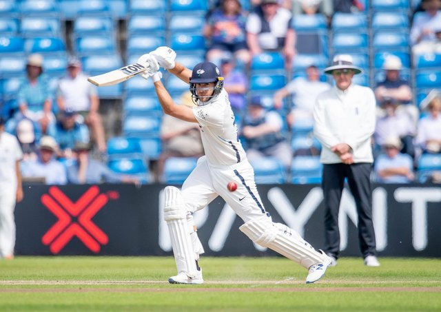 TOP MAN: Yorkshire's Dawid Malan hits out against Sussex on his way to an unbeaten 103. Picture: Allan McKenzie/SWpix.com