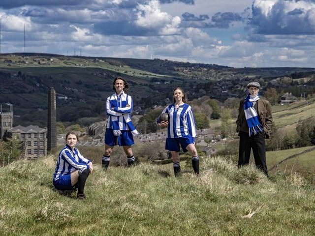 Thomas Cotran, Rachel Benson, Elizabeth Robin and James McLean, members of the cast for Atalanta Forever, on the hills above Marsden. (Tony Johnson).
