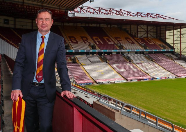 AIMING HIGH: New Bradford City manager at Valley Parade yesterday. Picture: Thomas Gadd.
