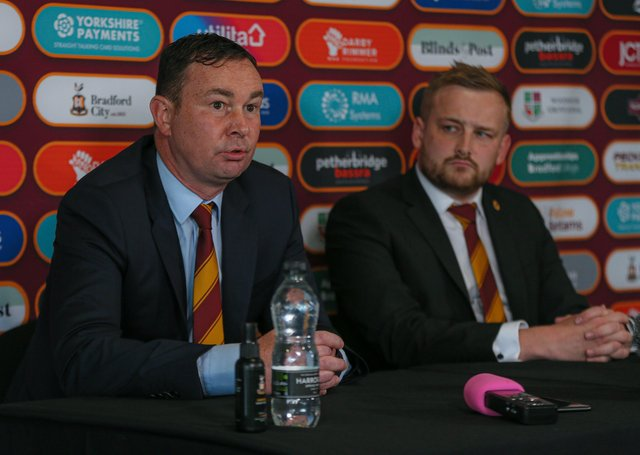 In charge: Derek Adams with Bradford City chief executive Ryan Sparks to his right as he is announced as the new Bradford City manager. Picture: Thomas Gadd