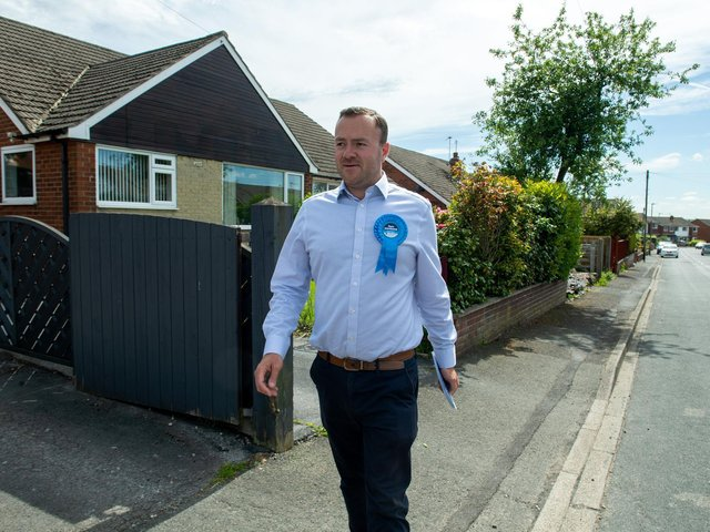 Ryan Stephenson on the campaign trail in Batley