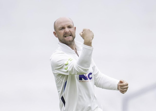 Got him: Yorkshire's Adam Lyth celebrates taking an acrobatic catch to dismiss Sussex's Tom Haines from the bowling of Dom Bess. Picture: SWPix
