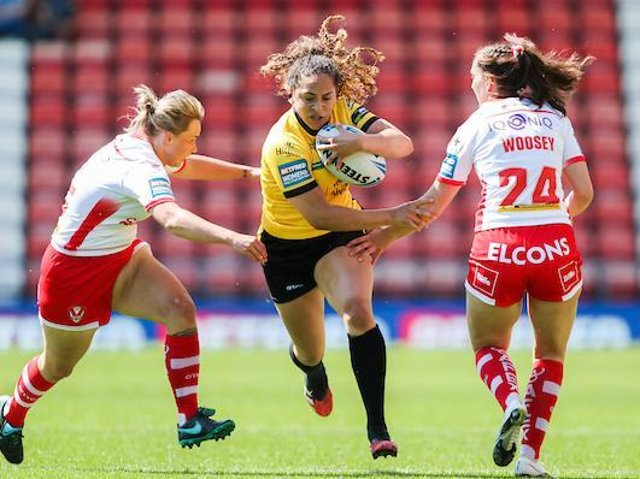 Savannah Andrade on the attack for York in the Wmen's Challenge Cup final defeat by St Helens. Picture by Alex Whitehead/SWpix.com.