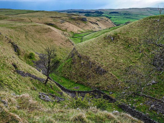 View of the dry limestone valley Conistone Dib in the Upper Wharfedale Valley towards Kilnsey Moor. Picture: Tony Johnson.