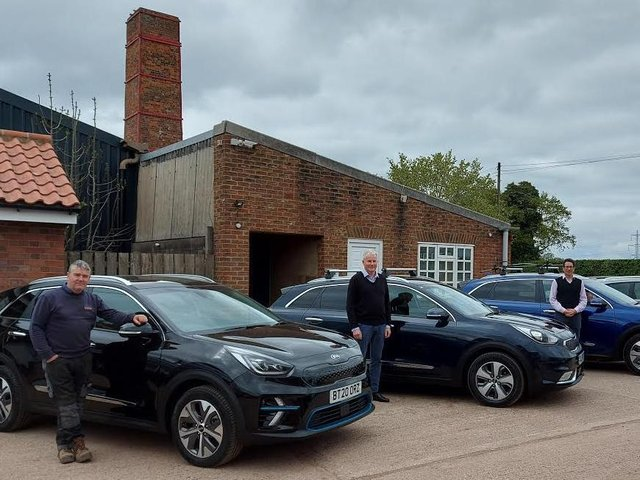 Steve Pittham (development manager), Alun Nixon (area sales manager), Guy Armitage (managing director) with the York Handmade Brick electric company cars